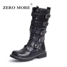 4acdc481 ZERO более армейские ботинки Для мужчин высокие военные армейские ботинки  металлической пряжкой панк до середины икры мужские мо.