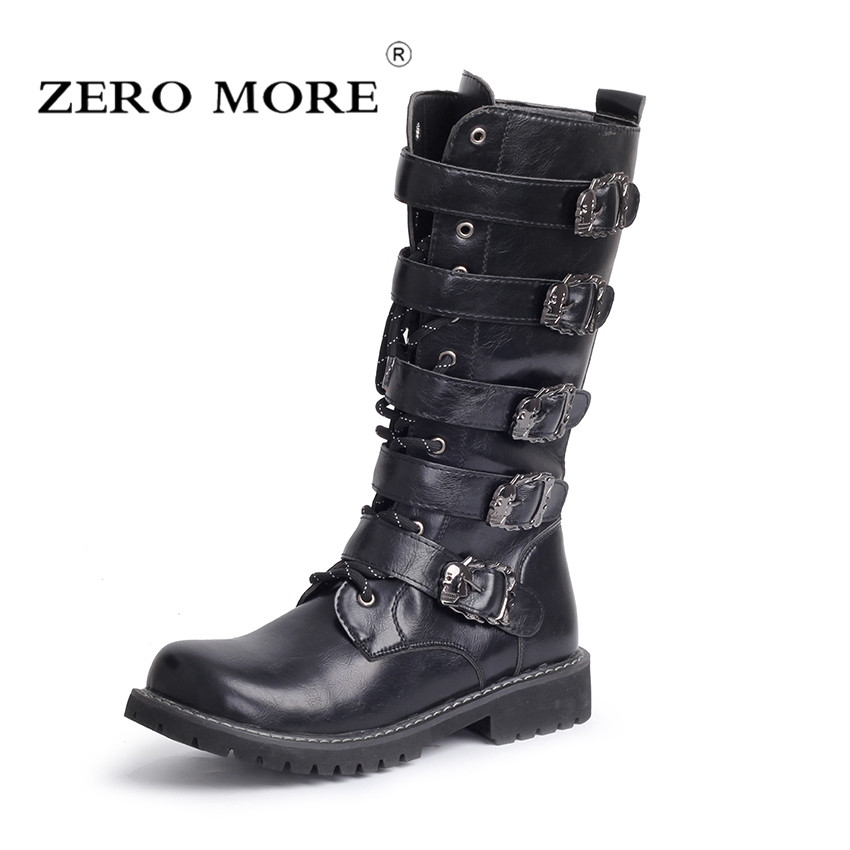 ZERO MORE Army Boots Men High Military Combat Boots Metal Buckle Punk Mid Calf Male Motorcycle Boots Lace Up Men's Shoes Rock
