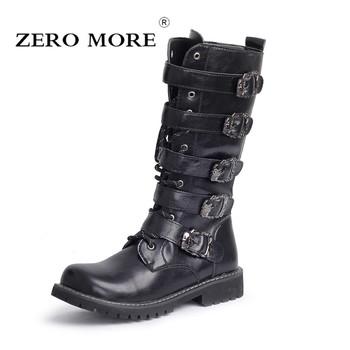ZERO więcej Armia Buty Mężczyźni High wojskowe buty bojowe metal klamra punk Mid Calf mężczyzna buty motocyklowe koronki up Mężczyźni Buty Rock tanie i dobre opinie Dorosłych Gumowe LM675 Masz Połowy łydki Syntetycznych Sznurowane Z (3cm-5cm) Okrągły palec Wiosna jesień Pasuje do rozmiaru Weź swój normalny rozmiar