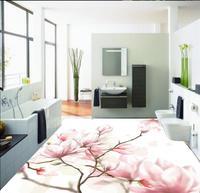 Home Decoration Fantasy Flowers 3D floor pvc floor wallpaper waterproof wallpaper for bathroom 3d
