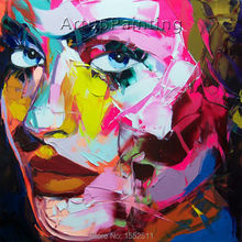 Palette knife painting portrait Face Oil Impasto figure on canvas Hand painted Francoise Nielly 16-4