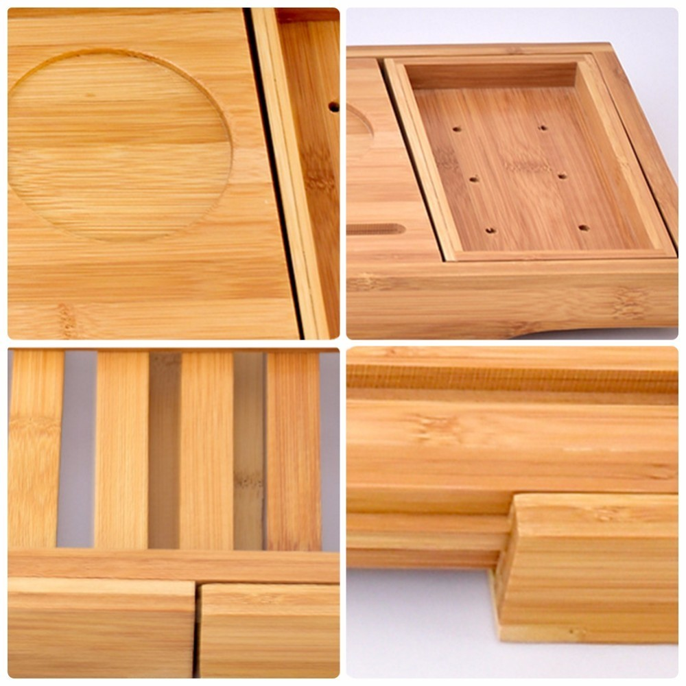 Creative Bamboo Bathtub Tray with Extending Sides Reading Rack ...