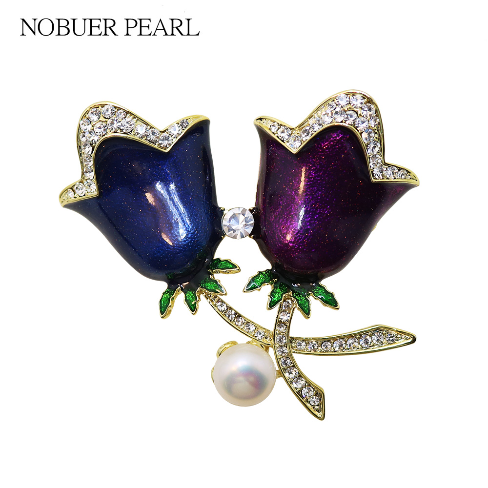 Nobuer Colorful Rose flower Pearl Brooches For Women With White Semiround Pearl woman shirt Jewelry safety pins To A Party