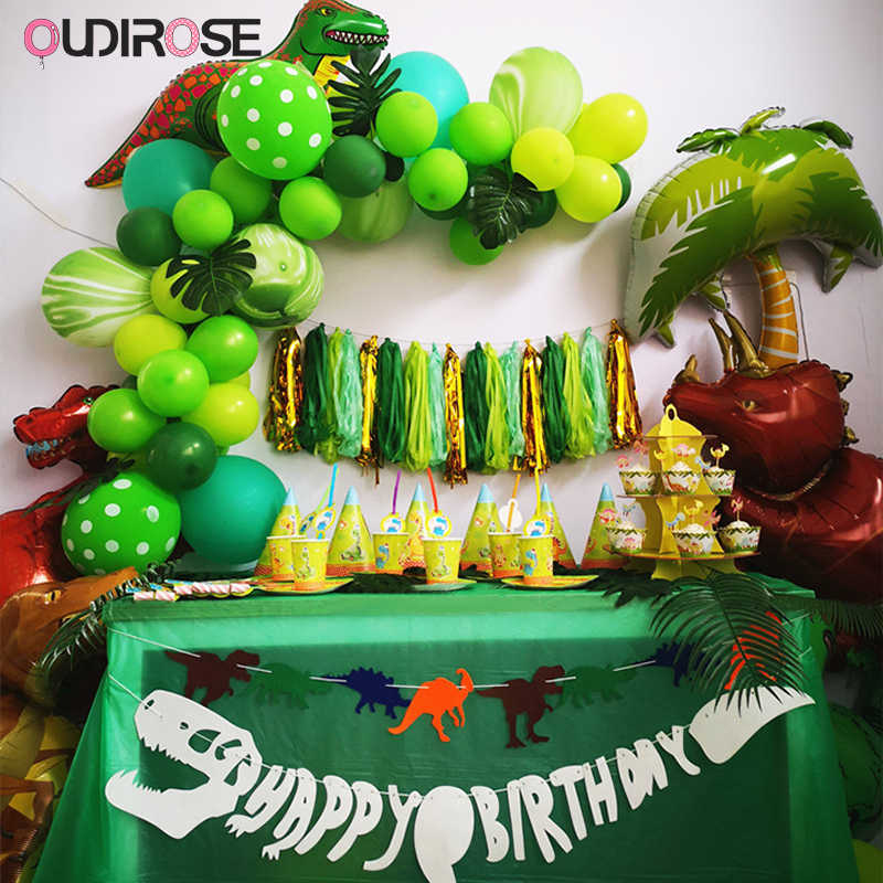 Dinosaur Party Theme Supplies Latex Balloon Walking Balloons Cake Topper Garland For Children Boy Baby Shower