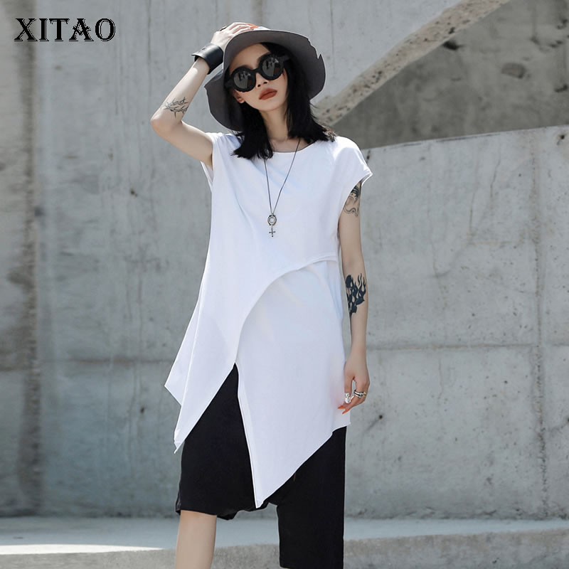 [XITAO] Irregular Women Korea Fashion 2019 Summer O-neck Short Sleeve Tee Female Split Solid Color Long Casual T-shirt ZLL3614