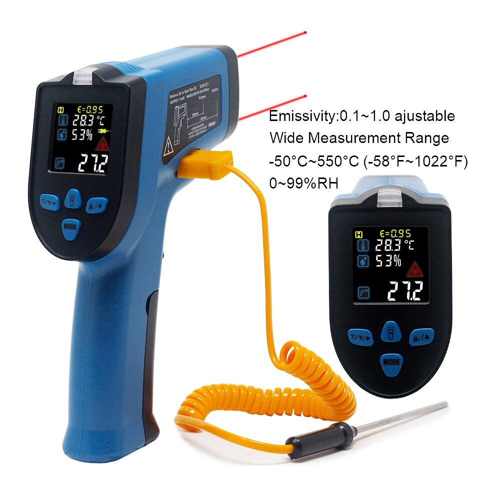 0-99% RH цифровой инфракрасный термометр измеритель влажности гигрометр температурный пирометр 400 550 Бесконтактный одиночный двойной лазер
