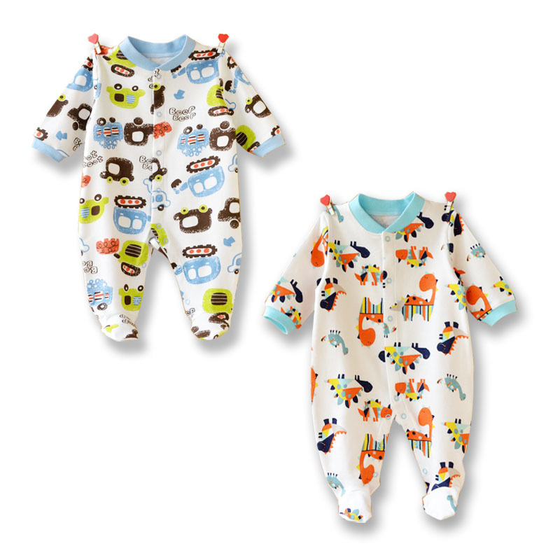 Cartoon Animal Baby Footies 2017 Long Sleeve Boys Girls Jumpsuits Cute Star Toddler Pajamas Costume Kids Outfits Infant clothing