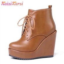 Купить с кэшбэком KaiziKarzi Women Shoes Warm Fur Wedges Boots Platform Shoes Lace Up Shoes Women Winter Ankle Boots Sexy Party Shoes Size 32-43