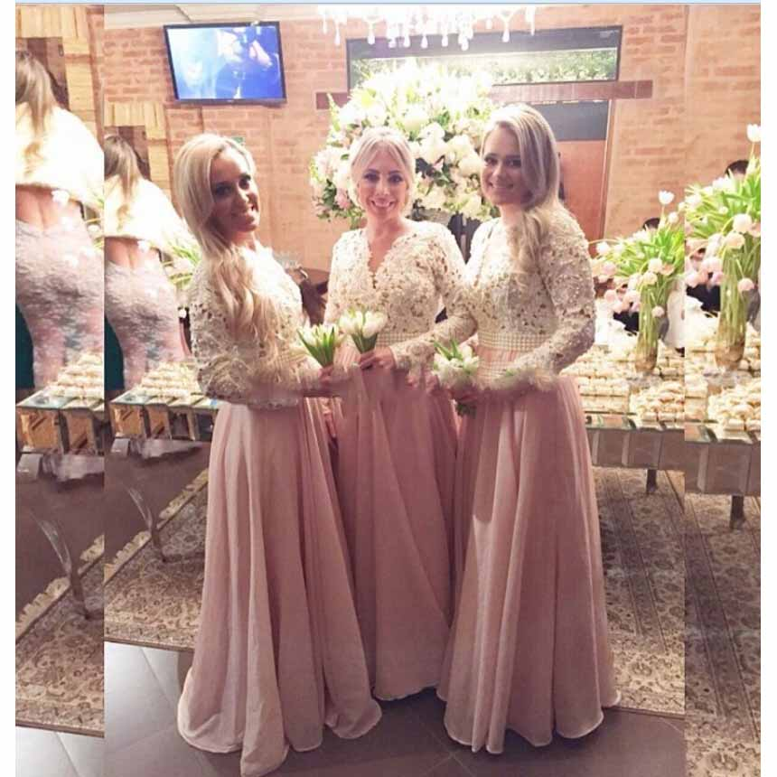 2017hot Modest Lace Bodice V Neck Long Sleeve Chiffon Bridesmaid Dresses With Pearl Beaded Sash Wedding Guest In From