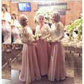 2017Hot Modest Lace Bodice V-neck Long Sleeve Chiffon Bridesmaid Dresses with Pearl Beaded Sash Cheap Wedding Guest Dresses