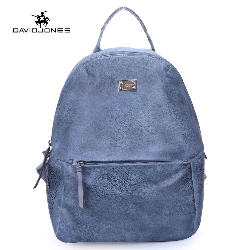 DAVIDJONES NEW Fashion PU Women Backpacks Durable School Bag For Girls Top-hand Female Mochlia Blosa