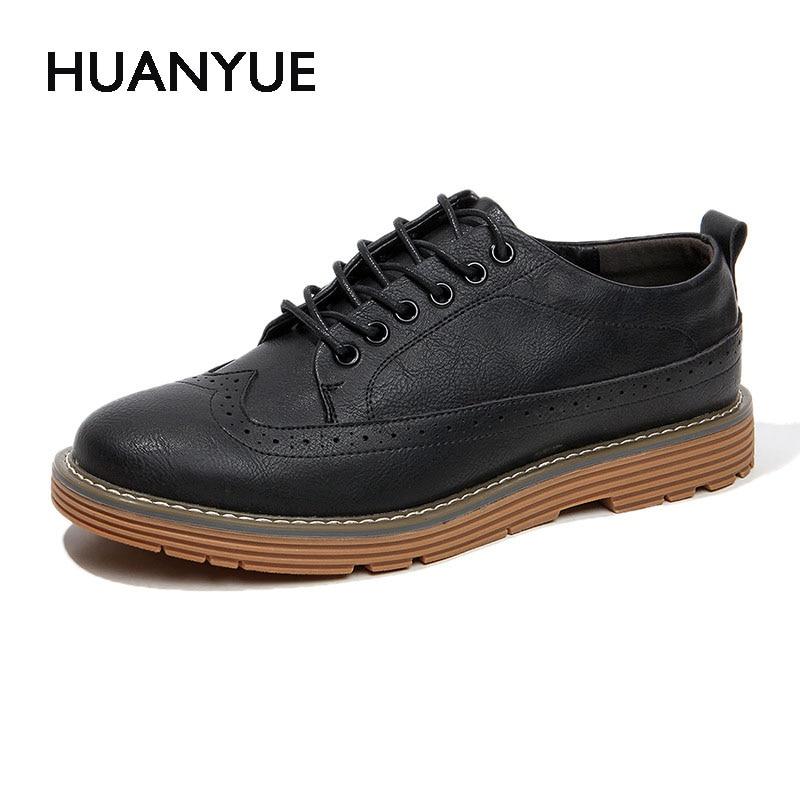 2017 New Autumn/Winter Men Shose Fashion Pu Leather Men Casual Shoes Lace UP Flat High Quality Black Mens Shoes Zapatos Hombre