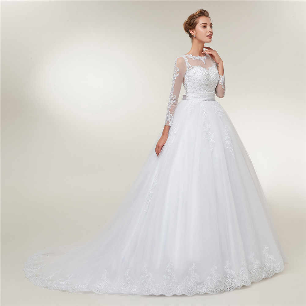 Женское платье невесты с жемчугами Fansmile, свадебное платье со пристежным шлейфом и аппликацией, модель FSM-567T 2-в-1, 2019