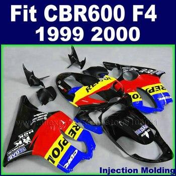 Customize Motorcycle Injection fairing kits for HONDA 1999 2000 CBR600F4 CBR600 F4 CBR 99 00 600 F4 red black bodywork fairngs
