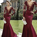 New Dresses Evening Wear Sexy Deep V-Neck Long Sleeves Burgundy Appliques Lace Beaded Mermaid Long Formal Prom Dress Party Gown