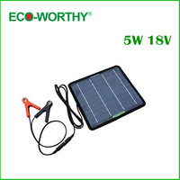 12V 5W Portable Solar Panel Multi Purpose Solor Battery Charger For Cars Boat Motorcycle Solar Battery