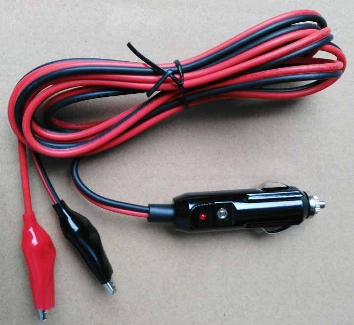 Enchufe del encendedor de cigarrillos Cable de extensión con pequeño Clip de cocodrilo 15AWG cobre Core Max 15A 12 V/24 V apoyar de alta potencia