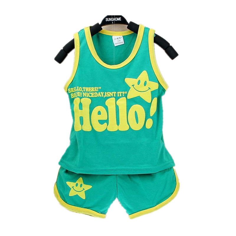 Summer Hello Baby Sets Baby Boy Clothes Cotton Sleeveless Vest + Shorts 2pcs Kids Sports ...