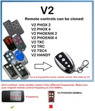 Clone V2 PHOENIX, PHOX, TXC, TRC, TSC4, HANDY 433mhz Garage Door Remote Control 433.92mhz fixed code v2 compatible remote for v2 garage door remote model v2 txc phoenix2 phoenix4 tsc4 trc v2 handy remote compatible