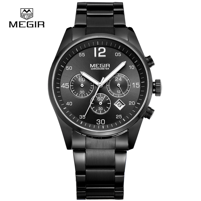 Mens Watches <font><b>MEGIR</b></font> Top Brand Luxury Waterproof Date Clock Male Steel Strap Casual Quartz Watch Men Sports Wrist Watch image