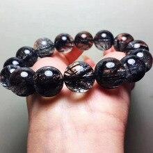 цена Fashion Bracelet Natural Black Hair Rutilated Quartz 15.5mm Round Beads Crystal Women Men Love Gift Stone Charm Stretch Jewelry онлайн в 2017 году