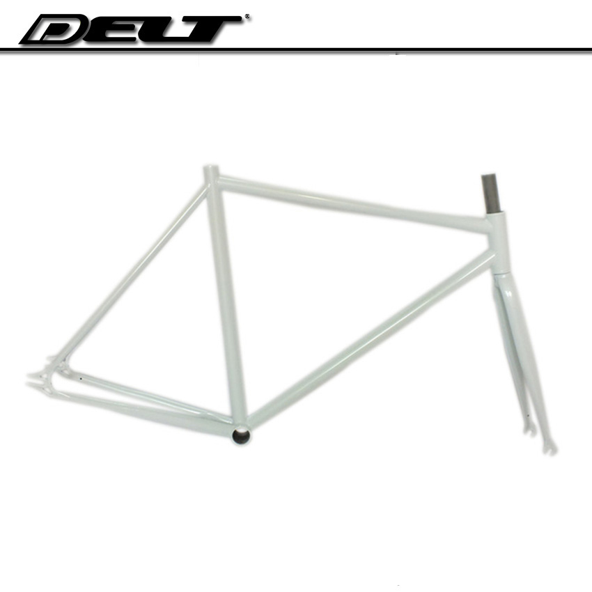 Full Cr-Mo <font><b>steel</b></font> Fixed gear bike <font><b>frame</b></font> 700C * 510mm 4130 glossy single speed white Accessories image