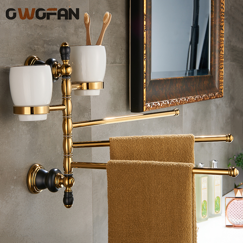 все цены на Gold Folding Movable Bath Towel Bar With Double Cup Holder Multifunction Bathroom Accessories Antique Brass Towel Bars XL-66838