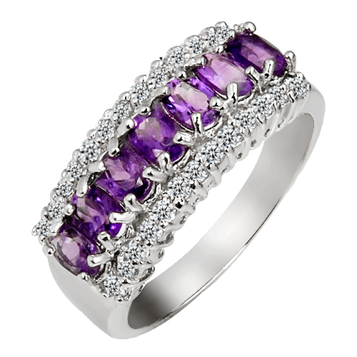 Natural Amethyst Ring in 925 sterling silver woman jewelry Purple Crystal Elegant fashion Handmade Birthstone Gift SR0154