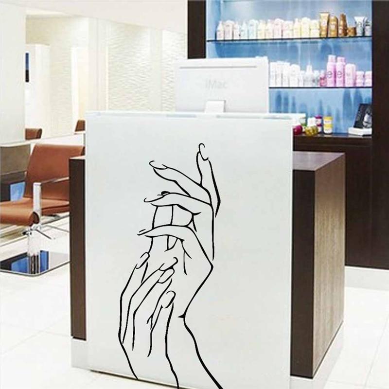 applaud hands nails salon bar art stickers home decoration decals living room removable diy vinyl