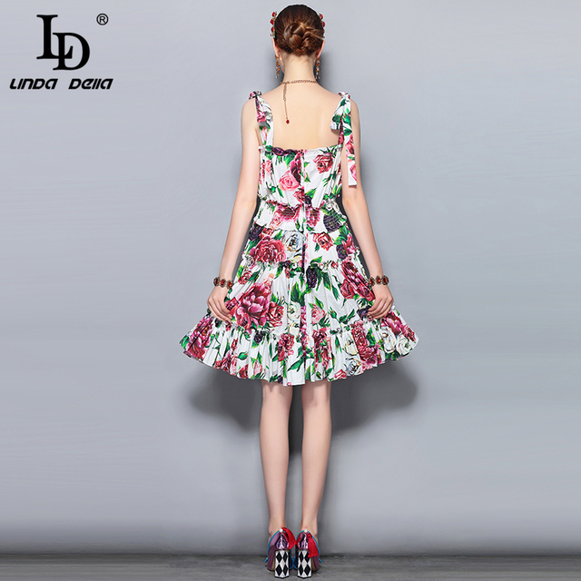 100% Cotton Women's Spaghetti Strap Backless Floral Print Ruffles Party Elegant Dress