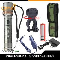 AC EU Waterproof CREE XML T6 Zoomable Flashlight 3800 Lumen Super Bright Adjustable Focus Torch Lamp