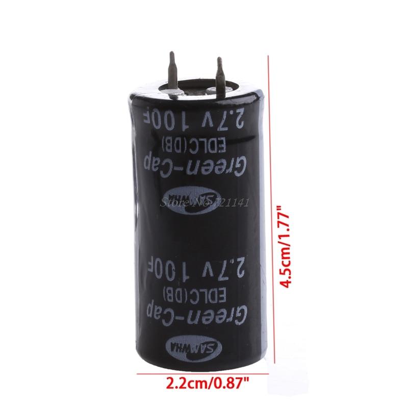 2 pièces Super condensateur 2.7V 100F Ultra condensateur Farad nouveaux composants électriques couleur noire livraison directe