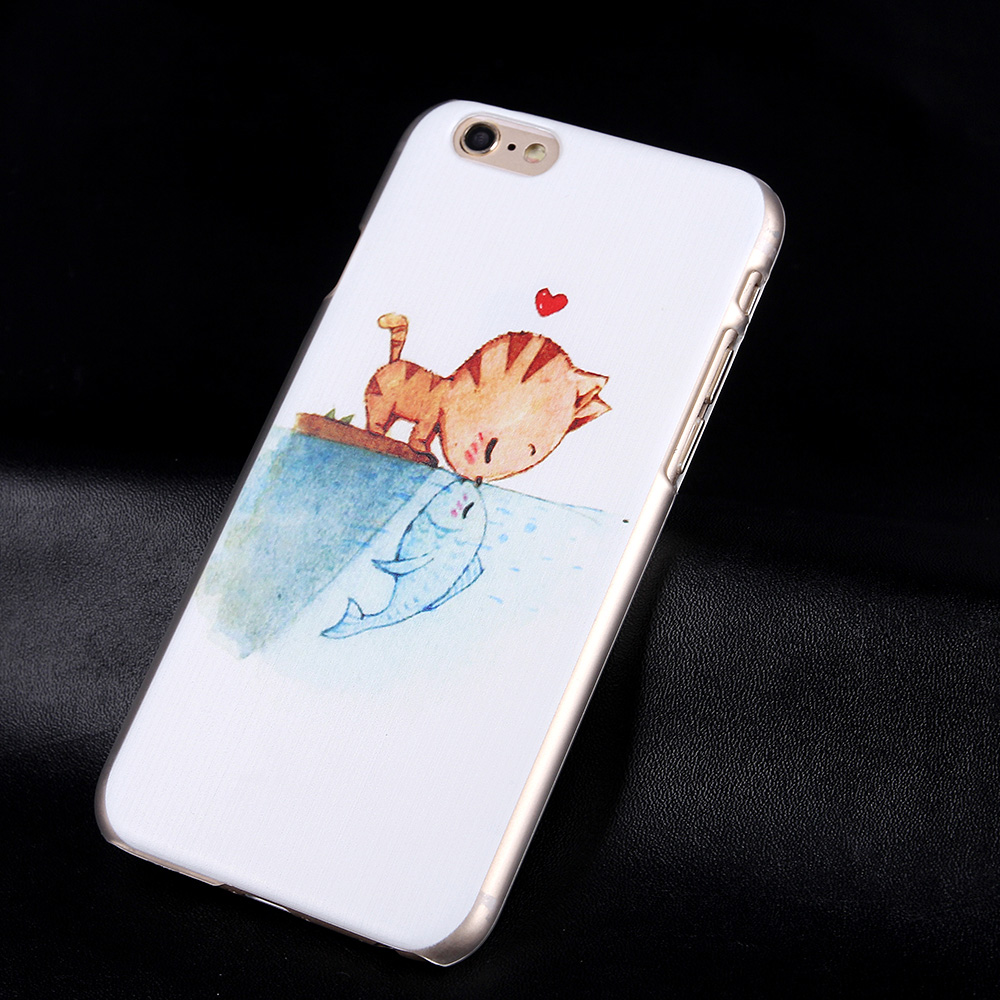 Fashion Nature Cat & Fish Case for Apple iphone 6 6s 4.7inch Cute Love Case Clearly Hard Case Cover Girls Phone Case for iphone