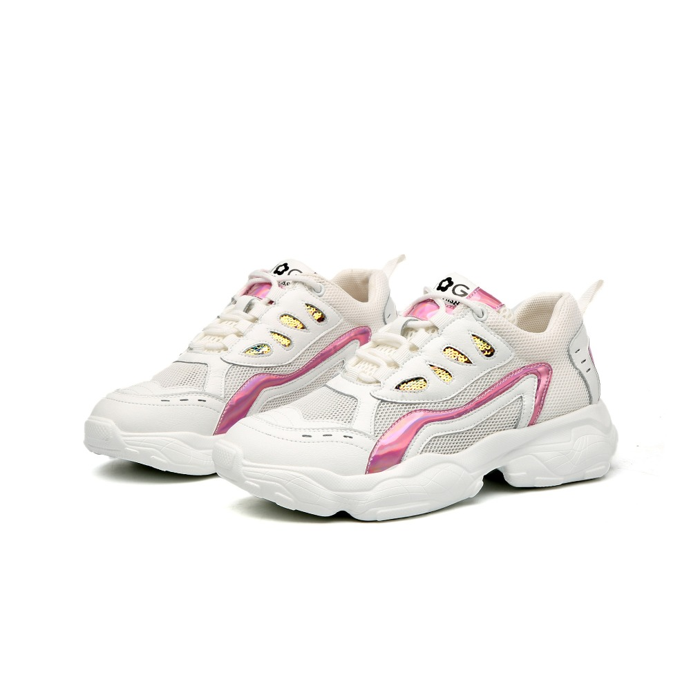 Femmes Clunky Sneakers Platform Vulcanized Chaussures Dames Casual Sports Chaussures en Plein Air Lace Up Chunky Trainers Chaussures Printemps Automne