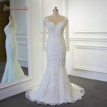 Robe de mariée sirène, magnifique, pleine perles et brillante, Amanda Novias, travail réel, haute qualité, 2018, 100%