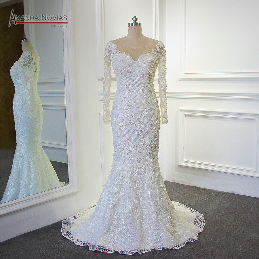 Amanda Novias 2018 New Model Mermaid Wedding Gown Beading: Stunning Full Beading Shinny Mermaid 2018 Wedding Dress