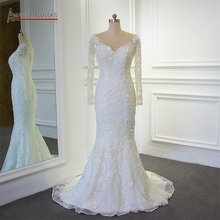 Stunning Full beading Shinny Mermaid 2018 Wedding Dress Amanda Novias Real Work 100% high quality