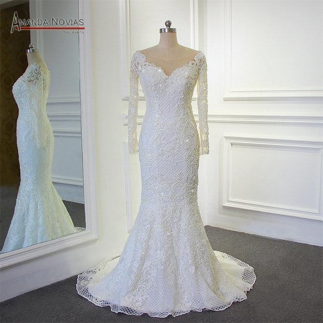Stunning Full beading Shinny Mermaid 2018 Wedding Dress Amanda Novias Real  Work 100% high quality 70b95c12a5e6