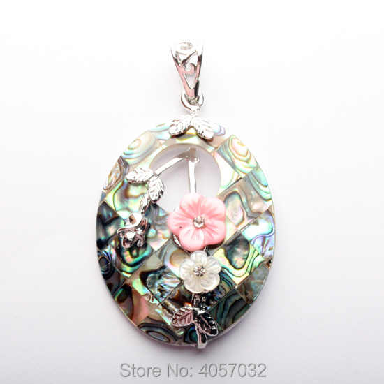45X35MM Natural White Mother Of Pearl Shell And Abalone Shells Oval Flower Bead Pendant 1PCS