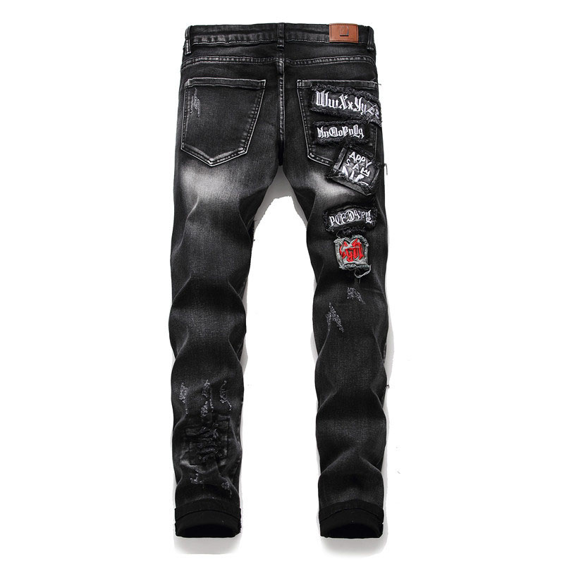 Mcikkny Men\`s Ripped Distressed Jeans Pants Fashion Embroidery Patchwork Biker Denim Trousers Male Streetwear Straight (4) -
