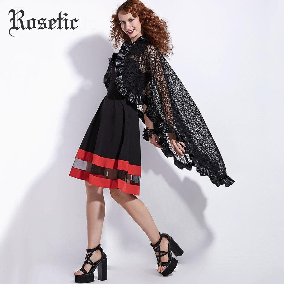 Rosetic Gothic Wraps Spitze PU Frauen Herbst Mode Schals Outwear Hexe  Vampire Schwarz Decor Zubehör Straße Goth Poncho Mäntel in Rosetic Gothic  Wraps Spitze ... 074166acbd