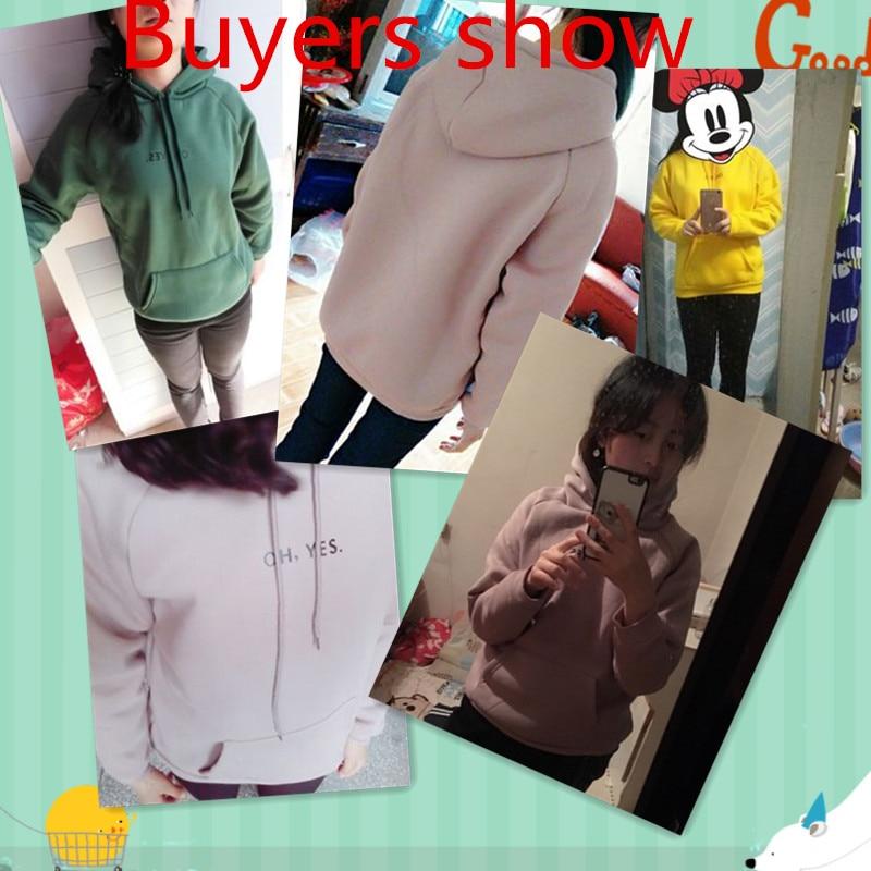HTB12rW0RFXXXXaUXFXXq6xXFXXXQ - OH YES2017 New Fashion Corduroy Long sleeves Letter Harajuku Print Girl Light pink Pullovers Tops O-neck Woman Hooded sweatshirt