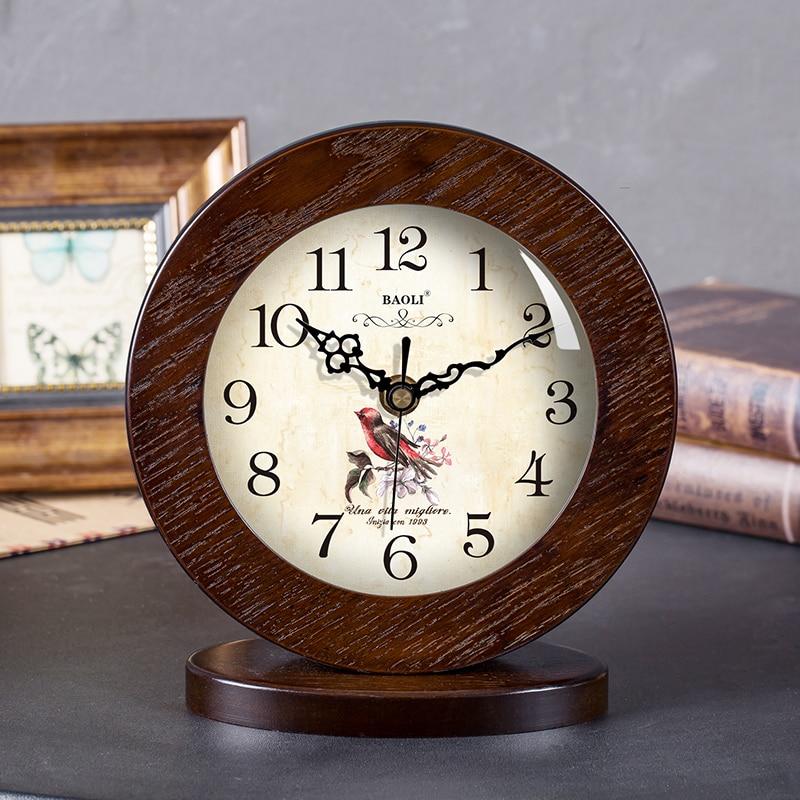 Style Pastoral fleurs motif muet bureau en bois aiguille horloge bureau numérique Quartz horloge maison créative décoration ornements - 5