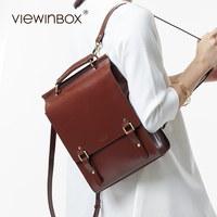 Viewinbox Retro Vintage Preepy Look Cattle Leather Backpack Casual Style Rucksack Fashion Leather Backpack School Bag