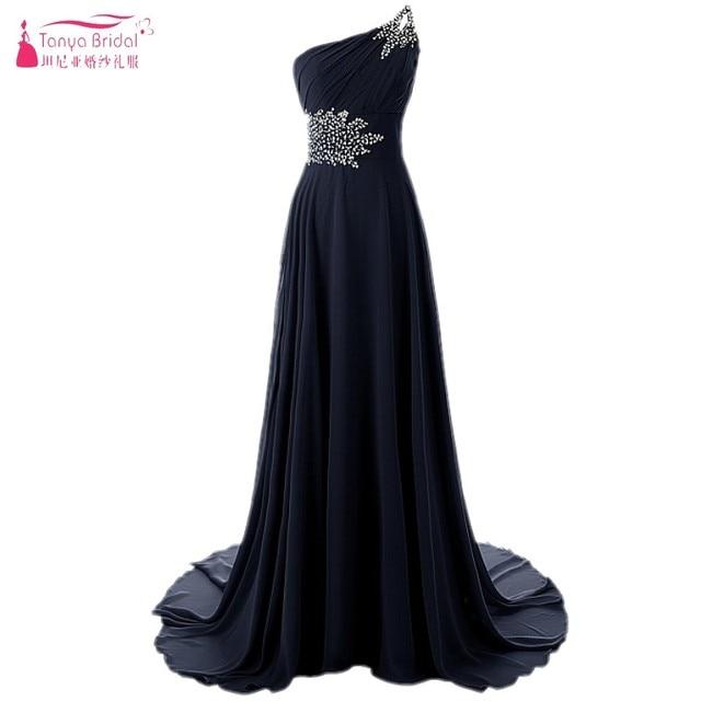 A Line Chiffon Long Beaded Prom Dresses One Shoulder Simple Black vestido  de festa Evening Prom Gowns DQG057 c8b21601e