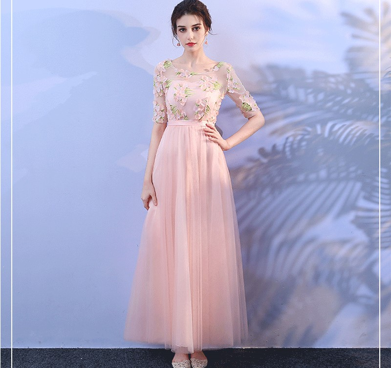 Pink Colour Bridesmaid Dresses  Wedding Party  For Women  Sexy Dress Floral Long Dress Wedding Party Sexy Prom Dress Vestido