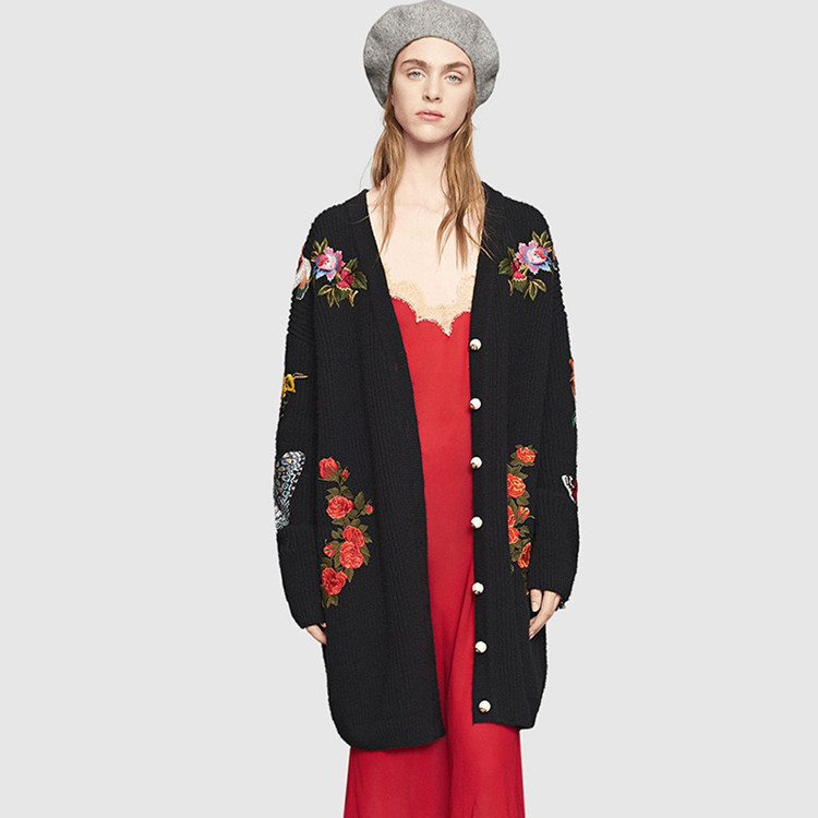 Long Retro Elegant Embroidered Sweater Cardigan Autumn 2016 Female Casual Fashion Women Sweater Coat Embroidered Flowers Tiger