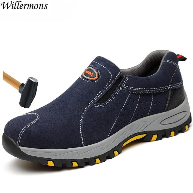 플러스 사이즈 남성 통기성 야외 소 스웨이드 가죽 강철 발가락 작업 부츠 신발 남성 미끄럼 방지 펑크 증거 안전 신발