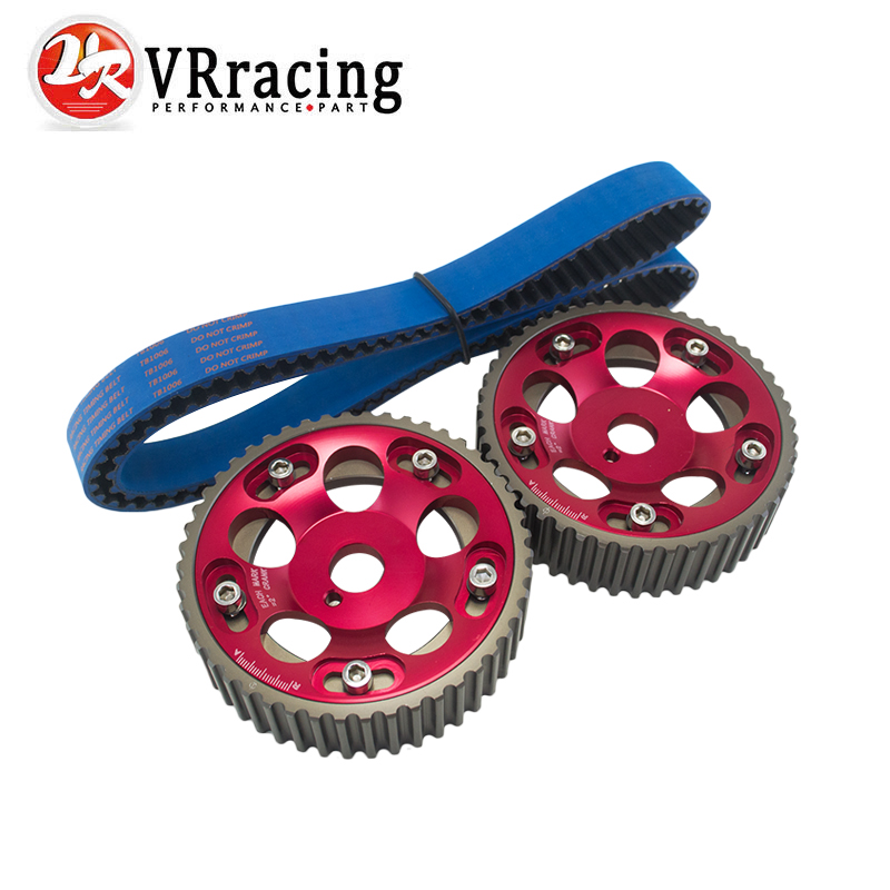 VR RACING - HNBR Racing Timing Belt BLUE + Aluminum Cam Gear Red FOR 2JZ-GE and 2JZ-GTE Supra, GS300, IS300 VR-TB1006B+6531R pqy racing hnbr racing timing belt blue aluminum cam gear red for toyota 1jz 1jzgte 1jz gte pqy tb1005b 6531r