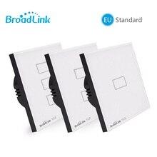 Broadlink Interruptor de pared TC2, estándar europeo, 1, 2 y 3 entradas opcional, lámpara de Móvil a distancia vía broadlink rmpro, cristal, domótica